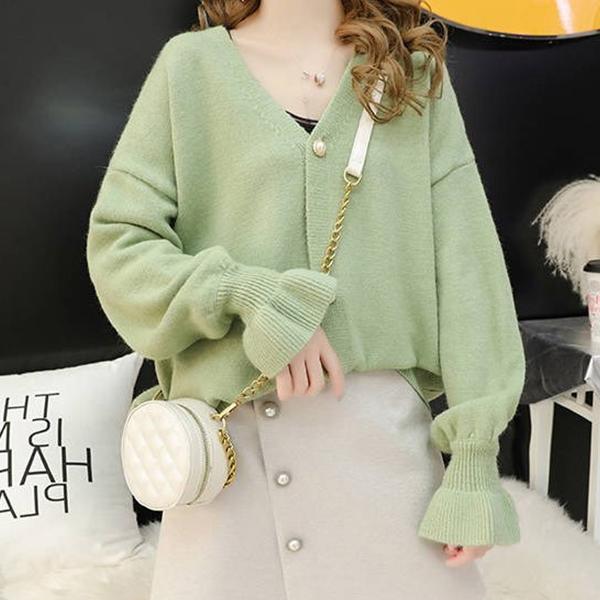 New Fashion Lantern Sleeves V Neck Sweaters - Green