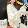 New Fashion Lantern Sleeves V Neck Sweaters - White