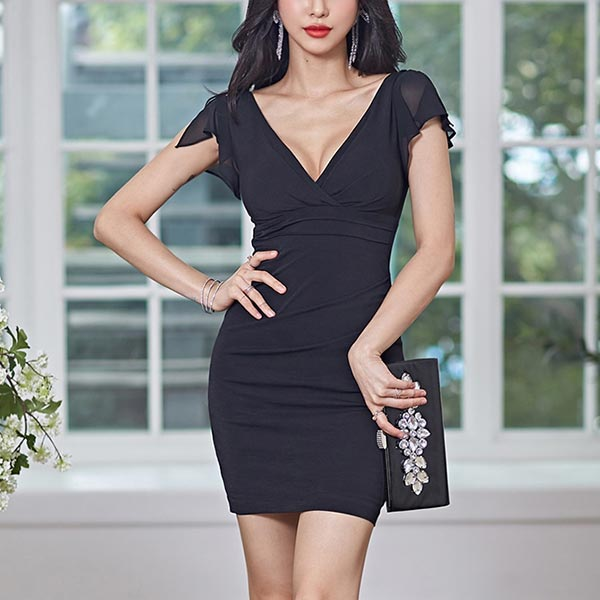 Cocktail Wear V Neckline Bodycon Dress - Black
