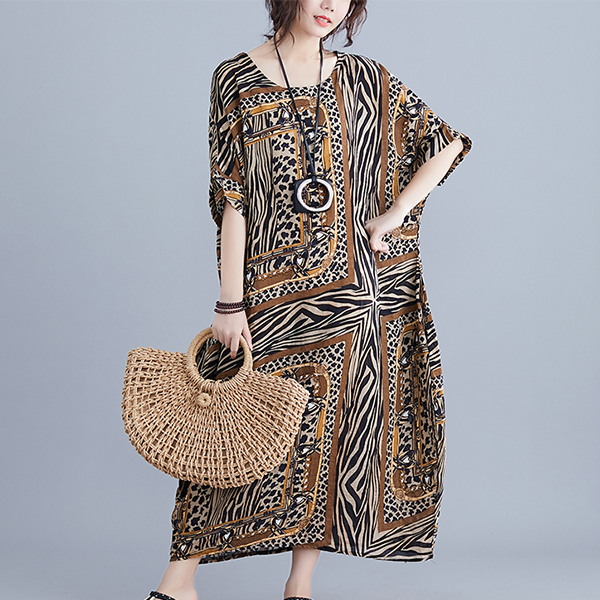 V Neck Zebra Prints Loose Maxi Wear Dress