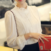 Ruffled Stand Neck Lace Patched Shirt - White