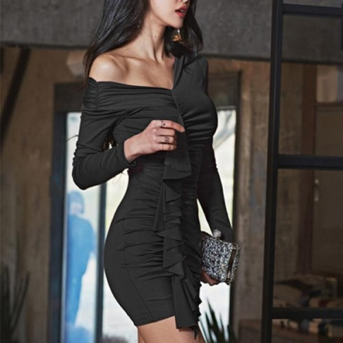 Beautiful Body Fitted One Shoulder Mini Dress - Black