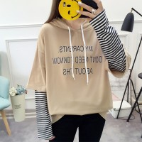 Contrast Striped Sleeves Hoodie Loose Top - Khaki