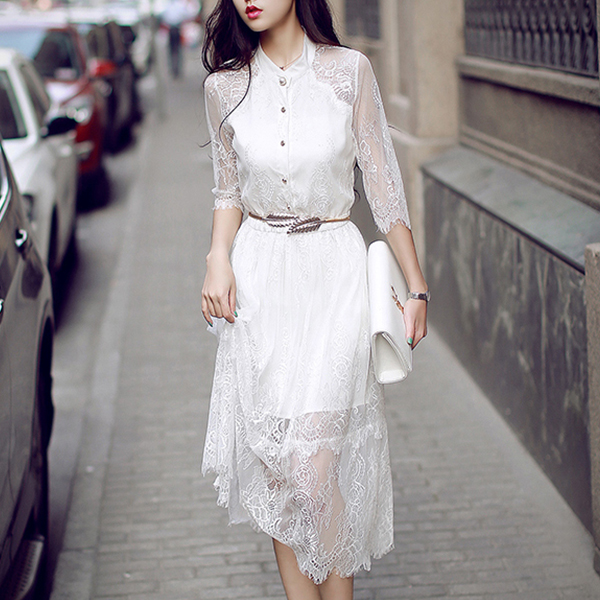 Stand Neck Lace Net Irregular Hem Dress - White