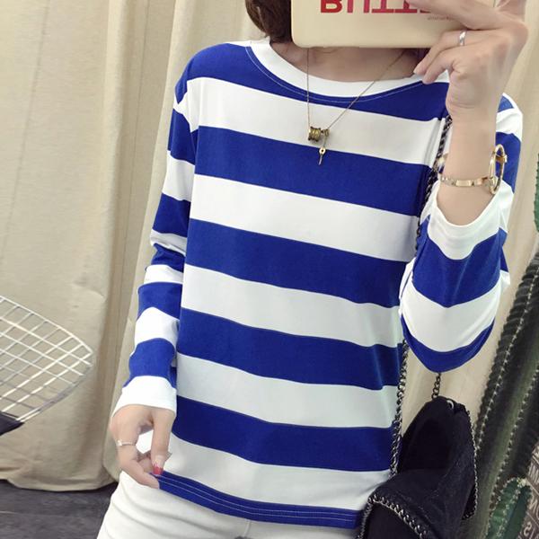 Striped Round Neck Full Sleeved T-Shirt - Blue