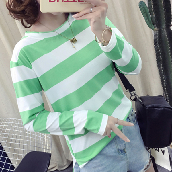 Striped Round Neck Full Sleeved T-Shirt - Green