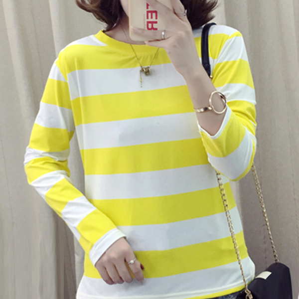 Striped Round Neck Full Sleeved T-Shirt - Yellow