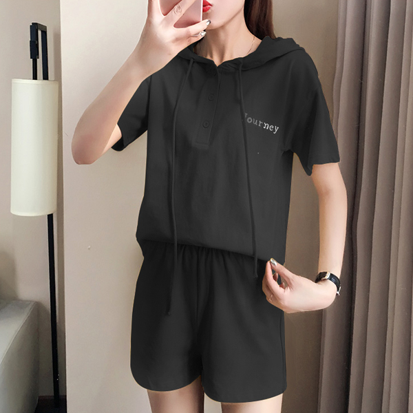 String Hoodie Sports Summer Wear Two Pieces Suit - Black