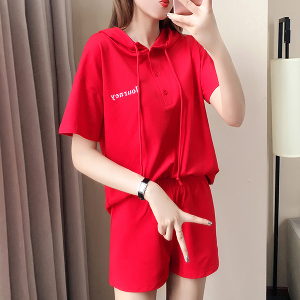 String Hoodie Sports Summer Wear Two Pieces Suit - Red