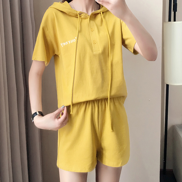 String Hoodie Sports Summer Wear Two Pieces Suit - Yellow