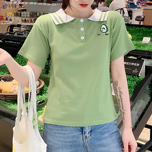 Polo Collar Short Sleeved Summer T-Shirt - Green