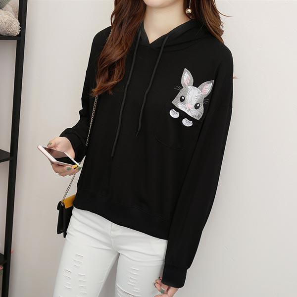 Embroidery Pocket Long Sleeves Hoodie Tops - Black