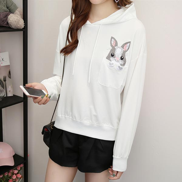 Embroidery Pocket Long Sleeves Hoodie Tops - White