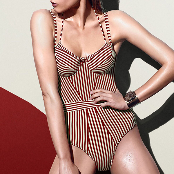 Strap Shoulder Stripes Slim Swimsuit