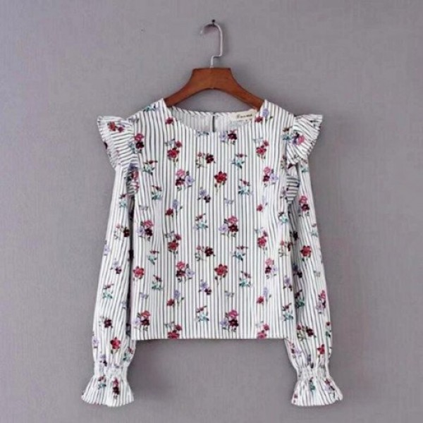Rose Printed Stripes White Frill Top