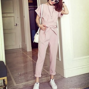 Boat Neck Waist Belt Two Piece Formal Suit - Pink