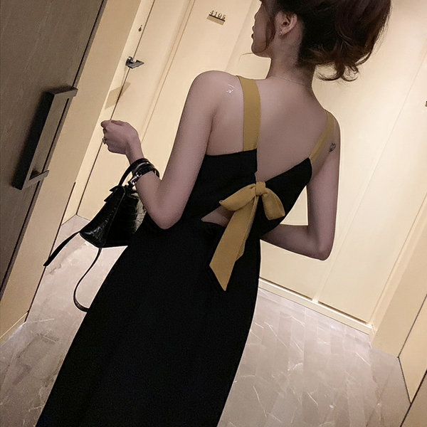Backless Waist Elastic Strap Shoulder Midi Dress