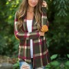 Check Prints Full Sleeves Outwear Cardigan - Green