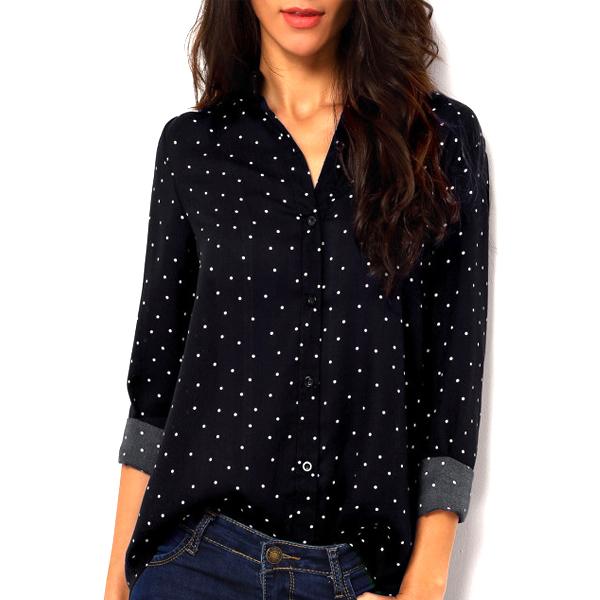 White Polka Dots Full Sleeves Black Shirt