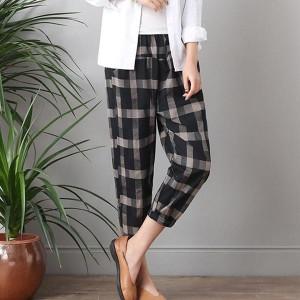 Contrast Loose Casual Wear Women Trousers - Black