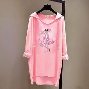 Loose Bat T-shirt Long-sleeved Women Hoodies - Pink