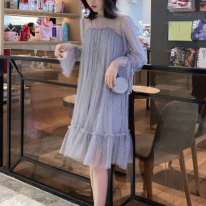 Transparent Net Decorated Round Neck Party Dress - Gray