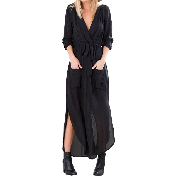 Women Loose Shirt Dress Full Sleeve Sexy Dress Black