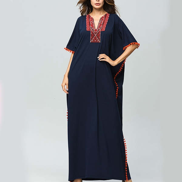 V Neck Boho Style Bat Sleeved Long Dress - Blue