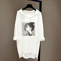 Loose Bat Face Printed Long-sleeved Women Hoodies - White