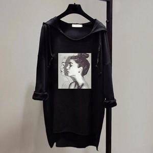 Loose Bat Face Printed Long-sleeved Women Hoodies - Black