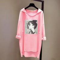 Loose Bat Face Printed Long-sleeved Women Hoodies - Pink