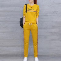Round Neck Tracksuits Long Sleeve Women Dresses - Yellow