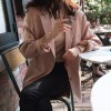 Button Closure Long Sleeves Female Dress Coat - Pink