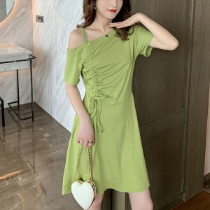 Drawstring Shoulder Mini Summer Wear Dress - Green