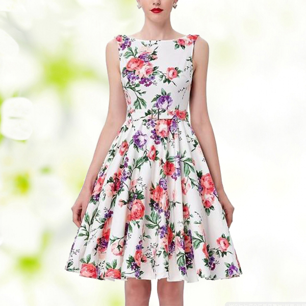 New Arrival Summer Season Beautiful Red Floral Dress
