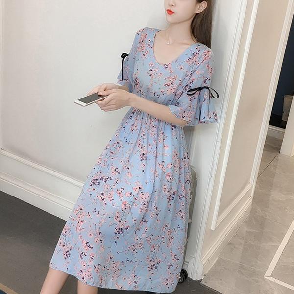 Floral Prints Ribbon Sleeves Chiffon Midi Dress - Blue
