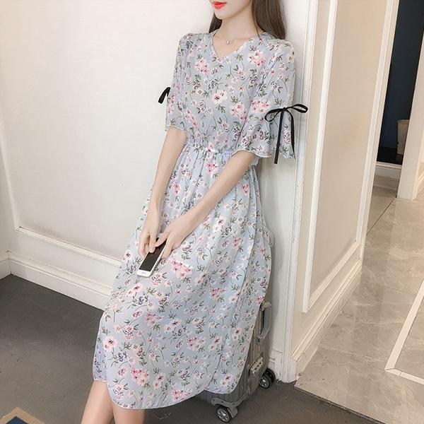 Floral Prints Ribbon Sleeves Chiffon Midi Dress - Light Blue
