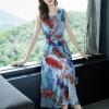 Feathers Print Sleeveless Beach Wear Dress - Blue