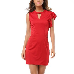 Women Fashion Casual Office Sexy Mini Bodycon Party Red Dress