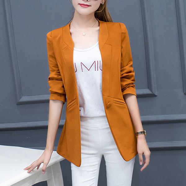 Button Up Plain Outwear Formal Coat - Orange