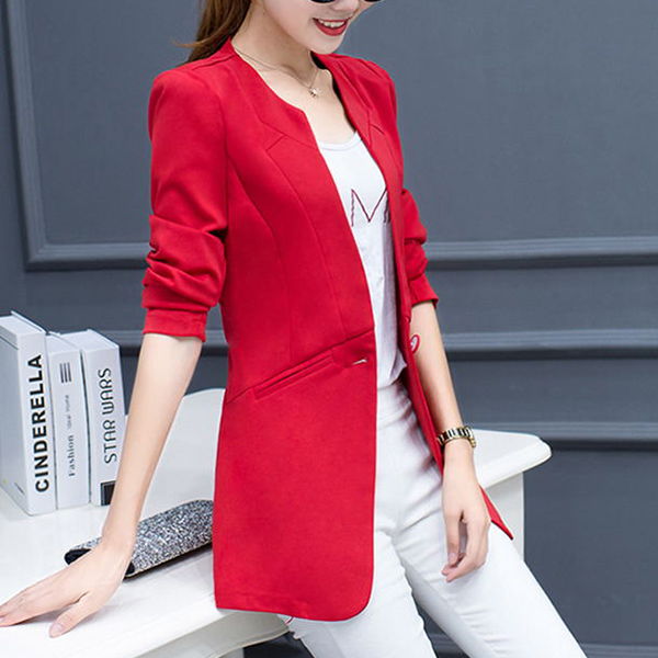 Button Up Plain Outwear Formal Coat - Red
