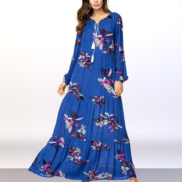 Digital Floral Prints Long Pleated Muslim Dress - Blue