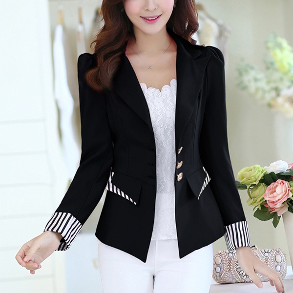 Formal Outwear Contrast Women Coat - Black