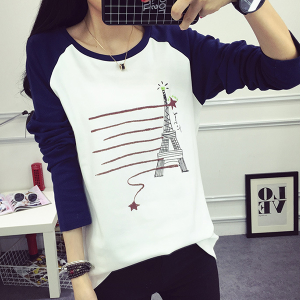 Eiffel Tower Prints Contrast Round Neck T-Shirt - Blue