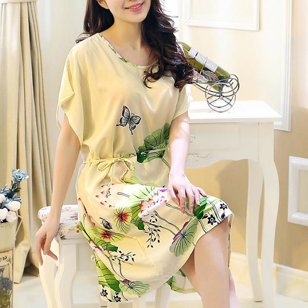 Colorful Prints Short Sleeves Summer Mini Dress - Apricot