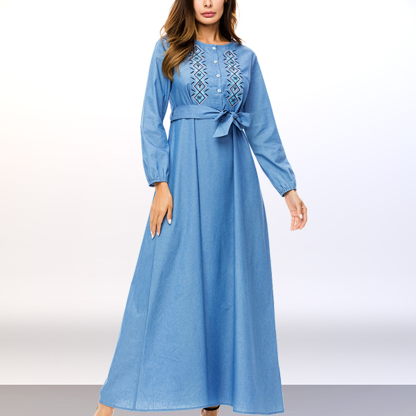 Floral Embroidery Full Length Muslim Maxi Dress