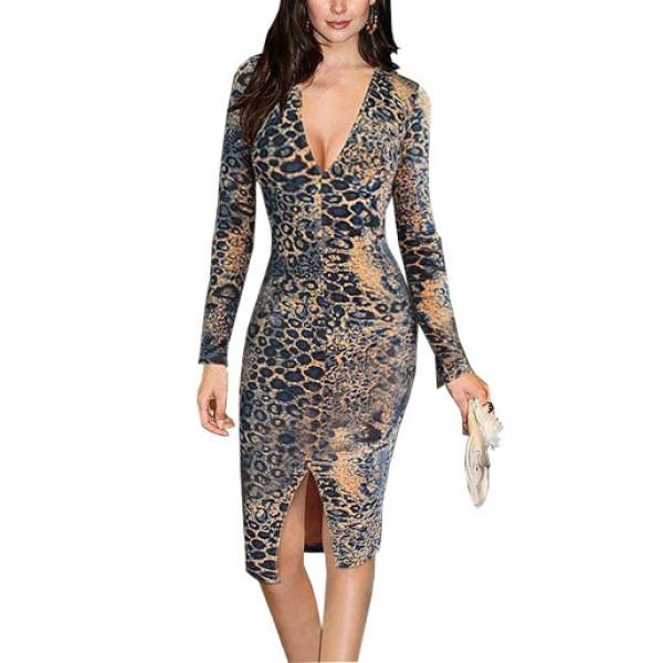Leopard Print Sheath Sexy Party Dress