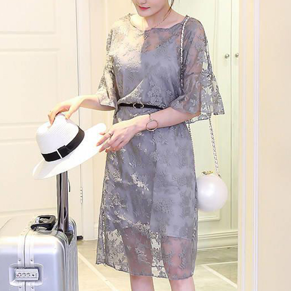Lace Net Speaker Sleeves Summer Party Dress - Grey