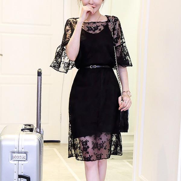 Floral Textured Half Sleeves Mini Dress - Black