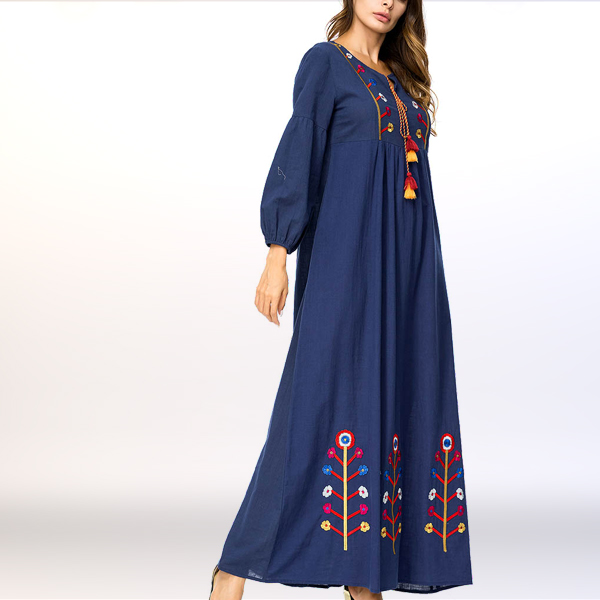Embroidered A-Line Traditional Middle East Dress